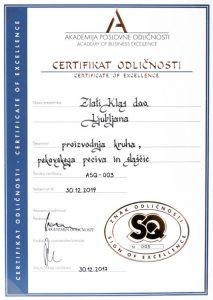 Certifikat odličnosti - primer